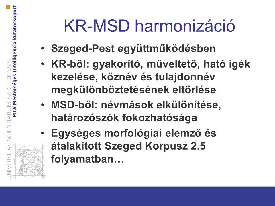 KR-MSD harmonizáció Szeged-Pest együttműködésben