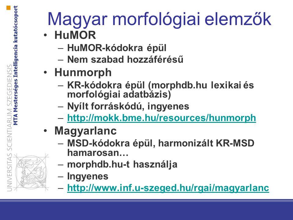 Magyar morfológiai elemzők