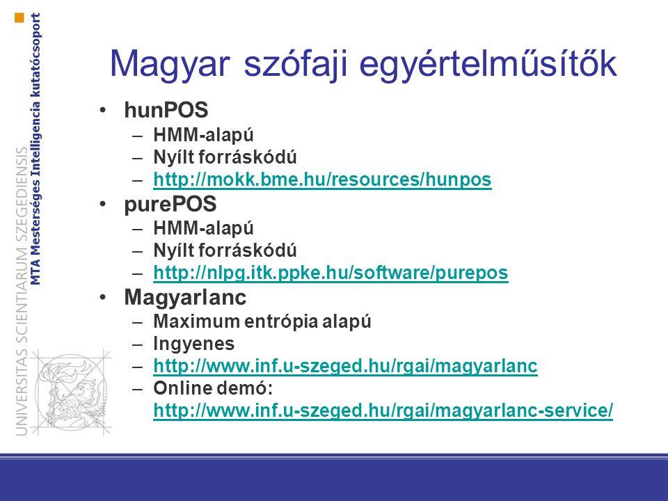 Magyar szófaji egyértelműsítők