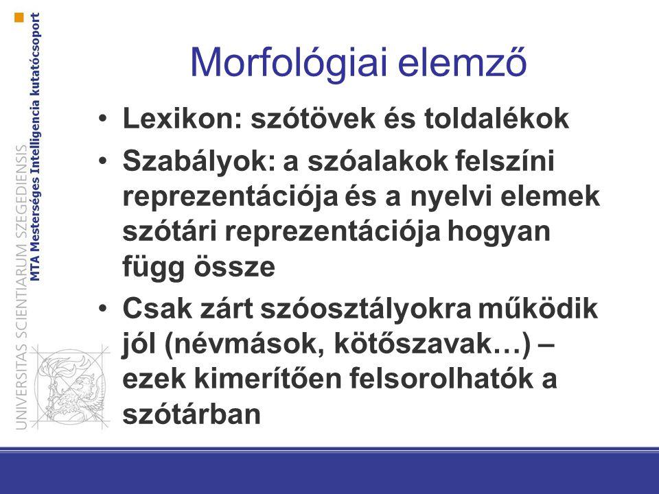 Morfológiai elemző Lexikon: szótövek és toldalékok