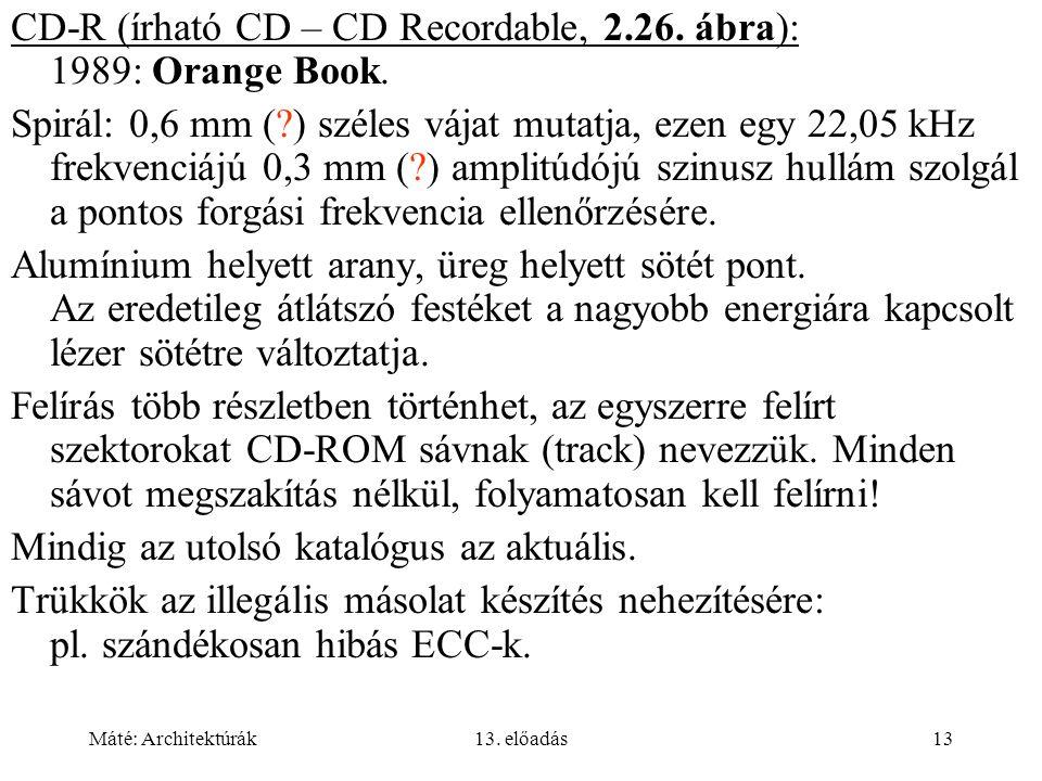 CD-R (írható CD – CD Recordable, 2.26. ábra): 1989: Orange Book.