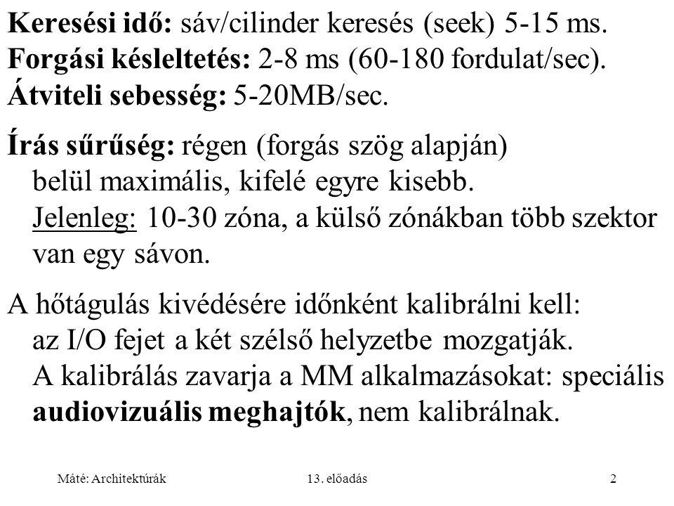 Keresési idő: sáv/cilinder keresés (seek) 5-15 ms.