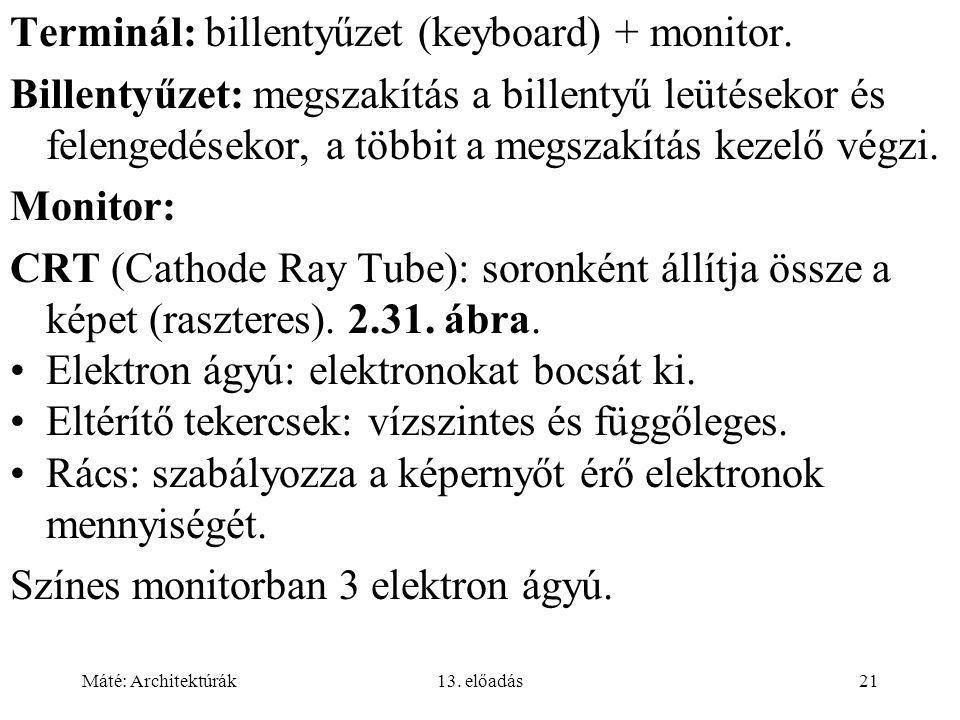 Terminál: billentyűzet (keyboard) + monitor.