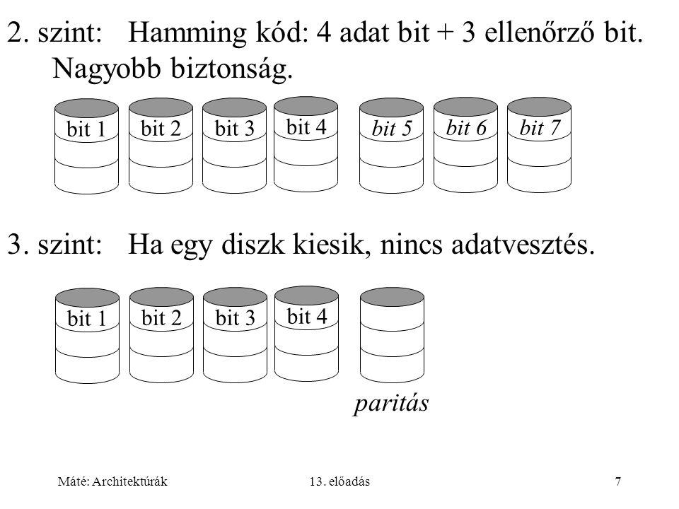 3. szint: Ha egy diszk kiesik, nincs adatvesztés.