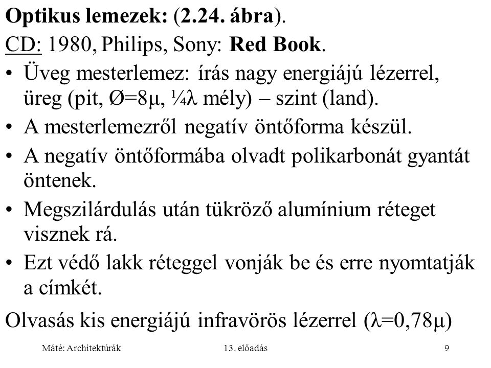 Optikus lemezek: (2.24. ábra). CD: 1980, Philips, Sony: Red Book.