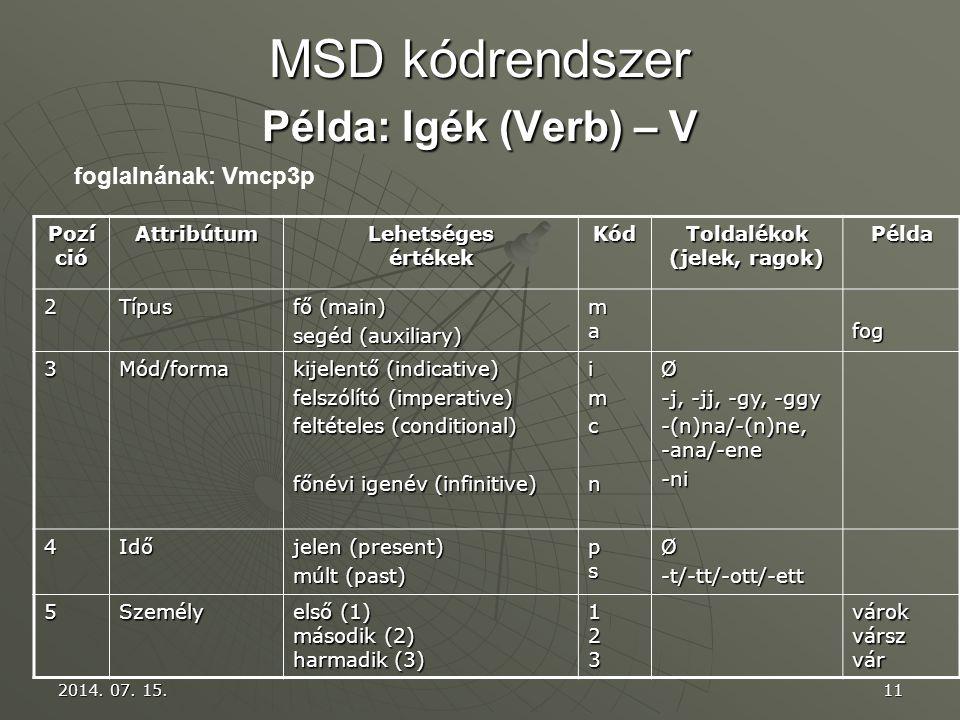 MSD kódrendszer Példa: Igék (Verb) – V