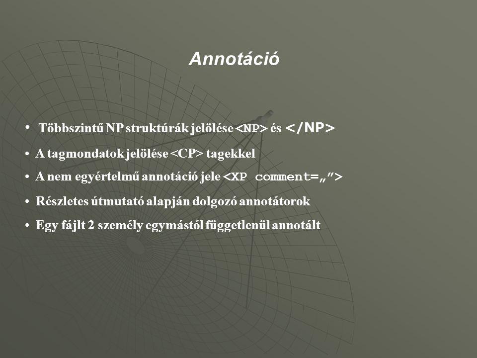 Annotáció Többszintű NP struktúrák jelölése <NP> és </NP>