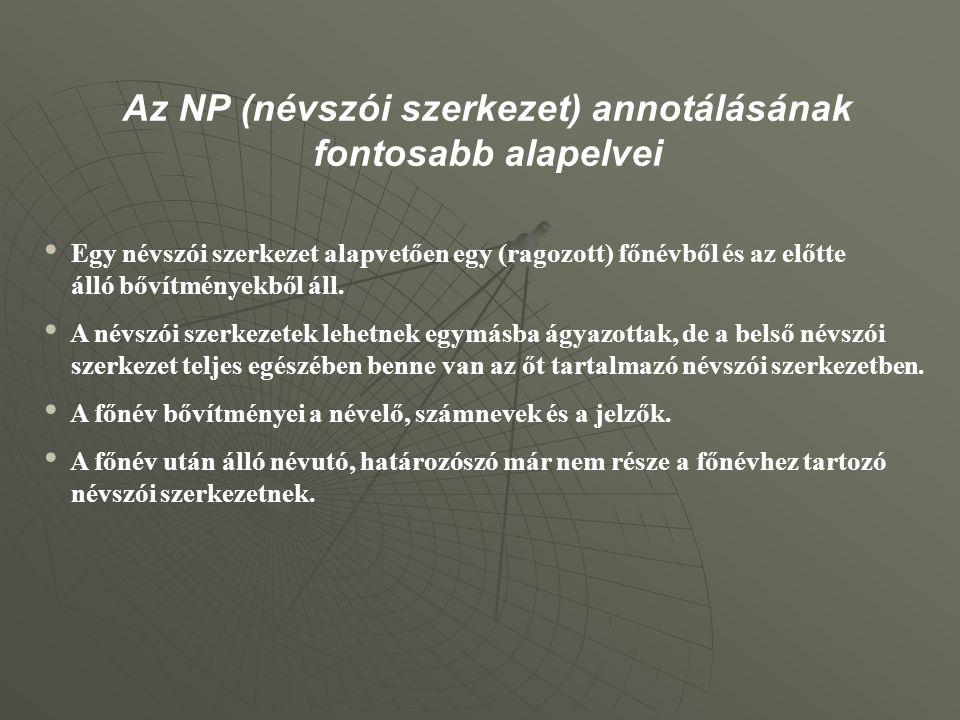 Az NP (névszói szerkezet) annotálásának fontosabb alapelvei