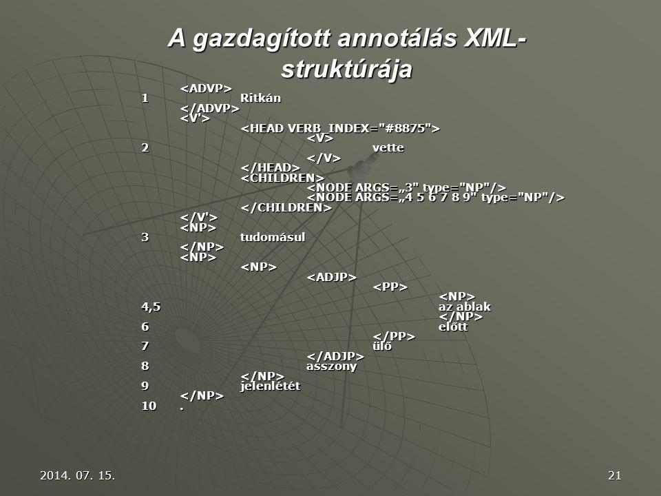 A gazdagított annotálás XML-struktúrája