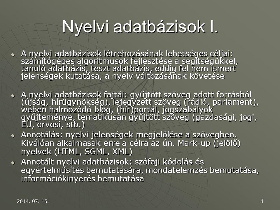 Nyelvi adatbázisok I.