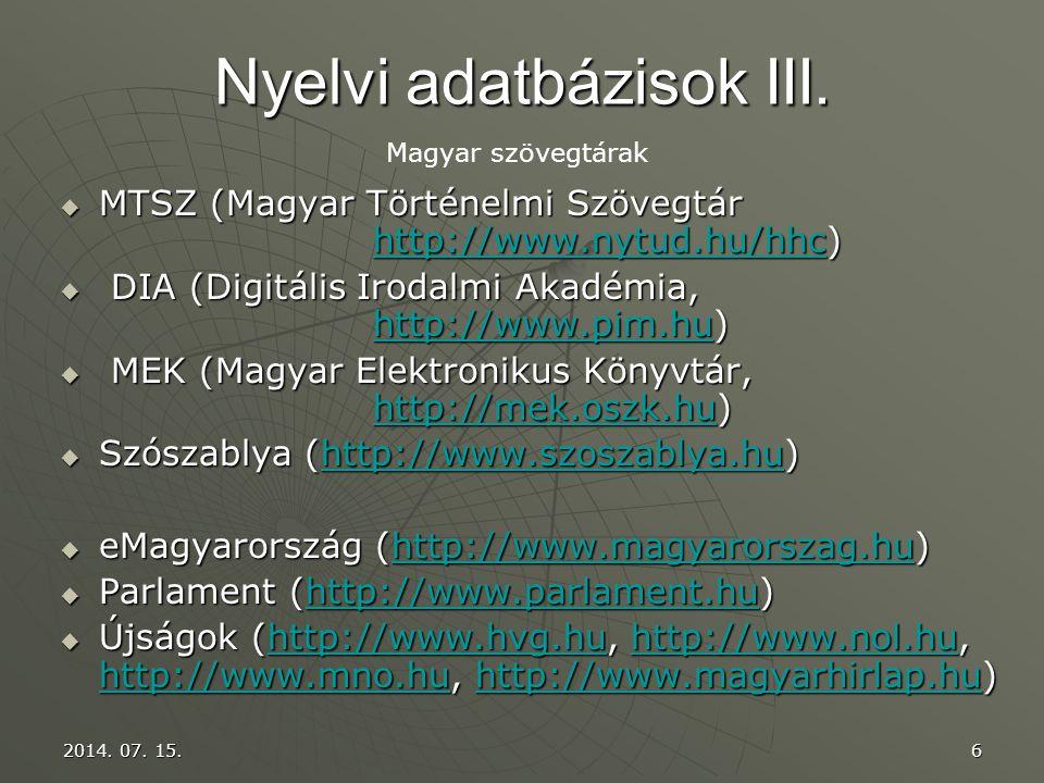 Nyelvi adatbázisok III.