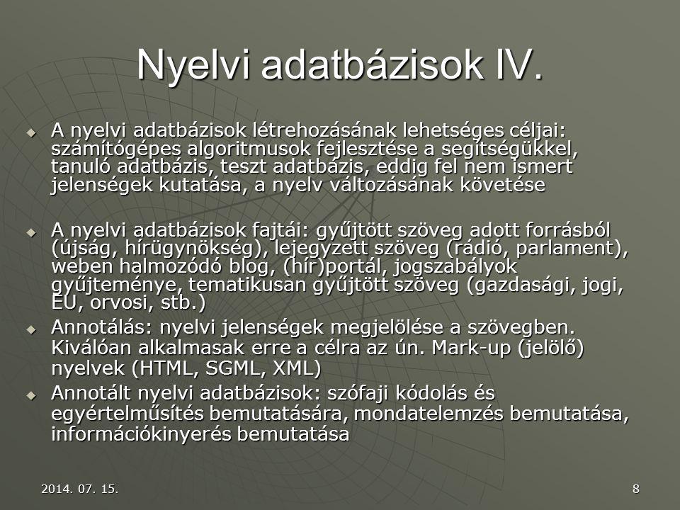 Nyelvi adatbázisok IV.