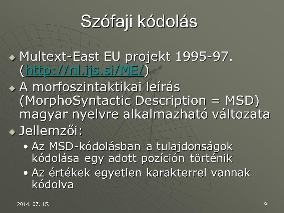 Szófaji kódolás Multext-East EU projekt 1995-97. (http://nl.ijs.si/ME/)