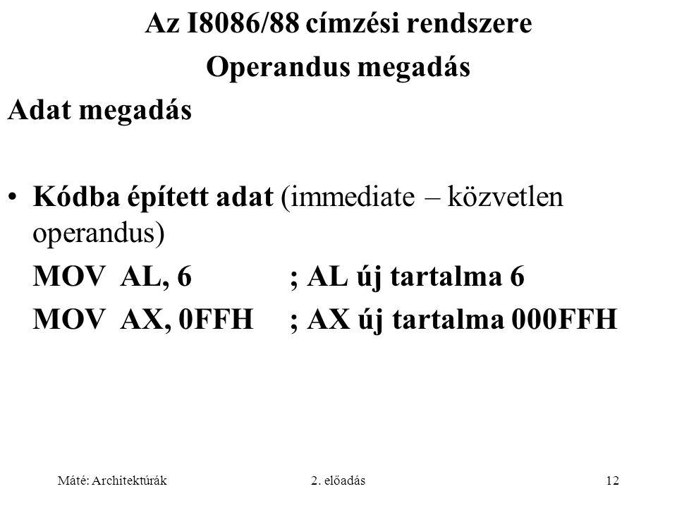 Az I8086/88 címzési rendszere