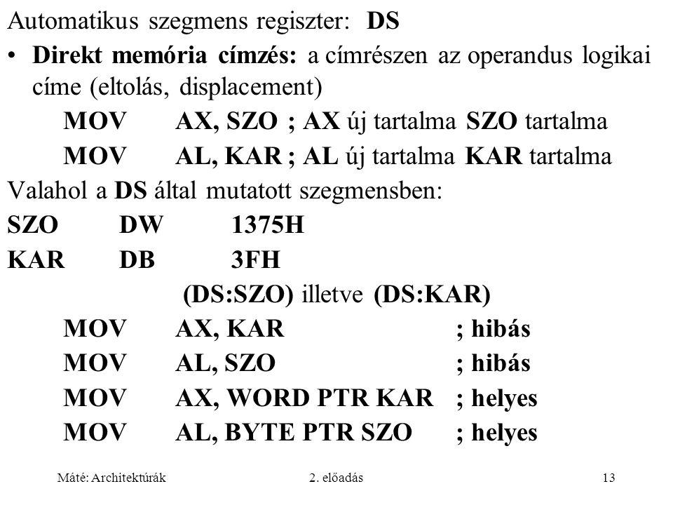 (DS:SZO) illetve (DS:KAR)
