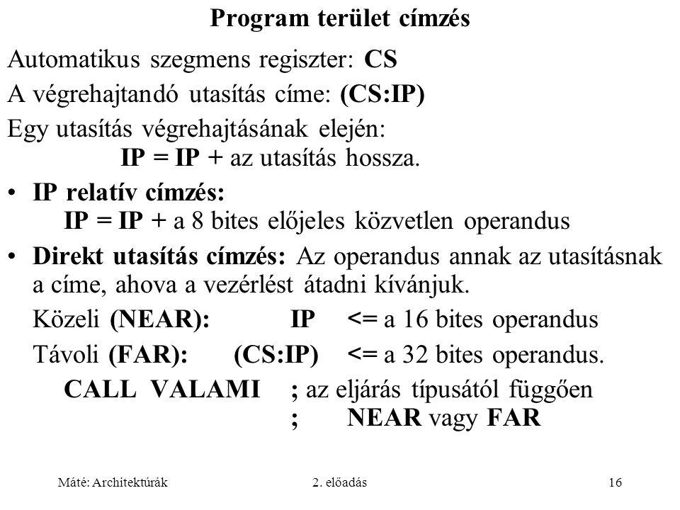 Program terület címzés