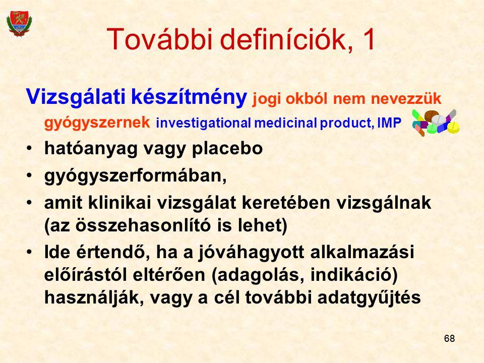 További definíciók, 1 Vizsgálati készítmény jogi okból nem nevezzük gyógyszernek investigational medicinal product, IMP.