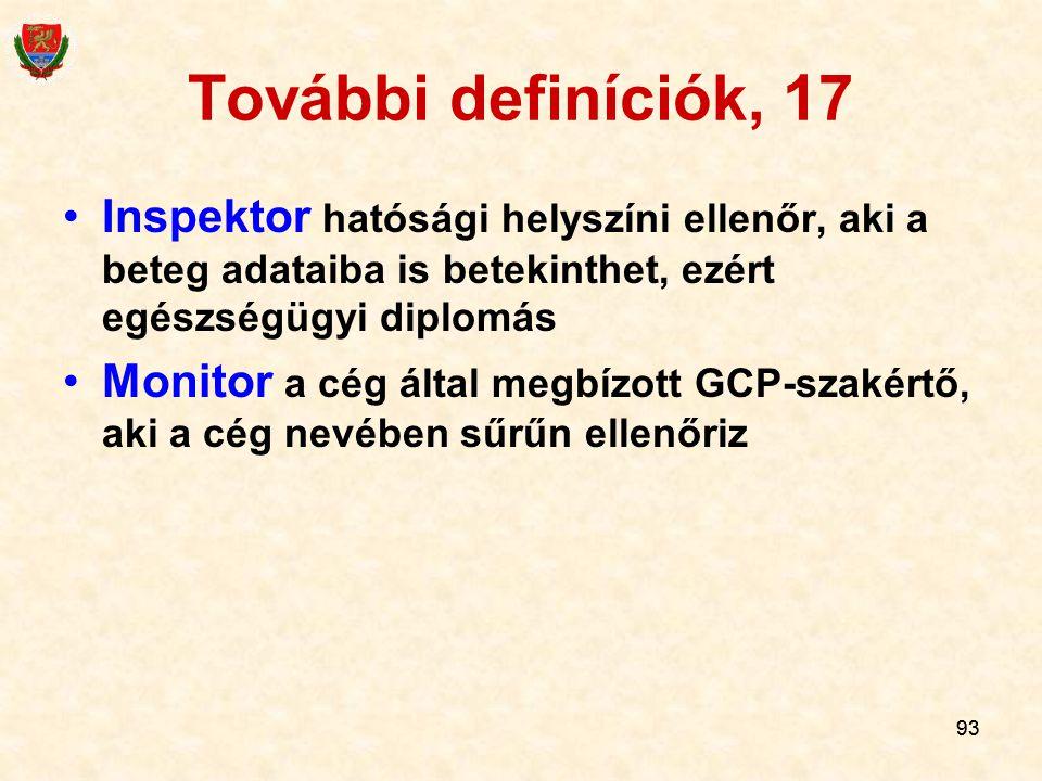 További definíciók, 17 Inspektor hatósági helyszíni ellenőr, aki a beteg adataiba is betekinthet, ezért egészségügyi diplomás.