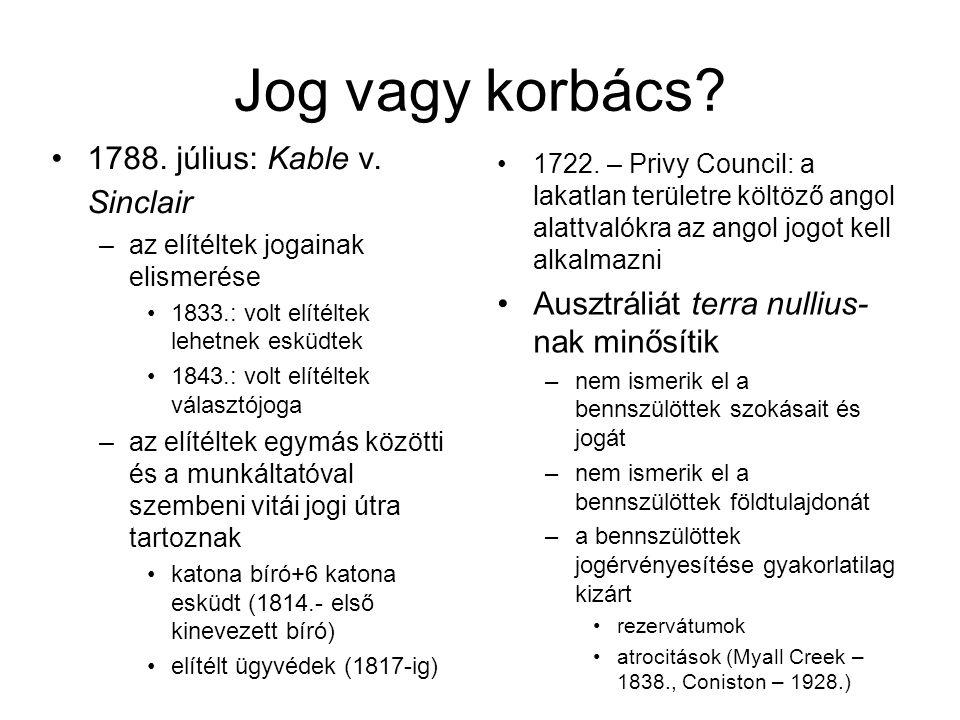 Jog vagy korbács 1788. július: Kable v. Sinclair