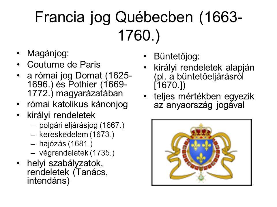 Francia jog Québecben (1663-1760.)