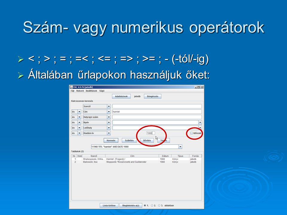 Szám- vagy numerikus operátorok