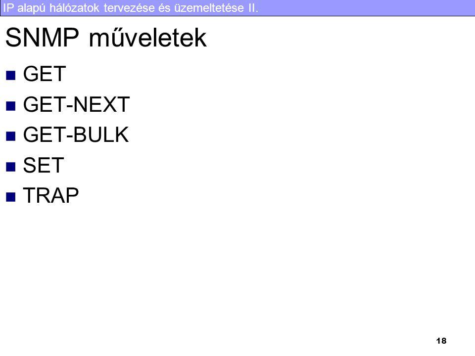 SNMP műveletek GET GET-NEXT GET-BULK SET TRAP