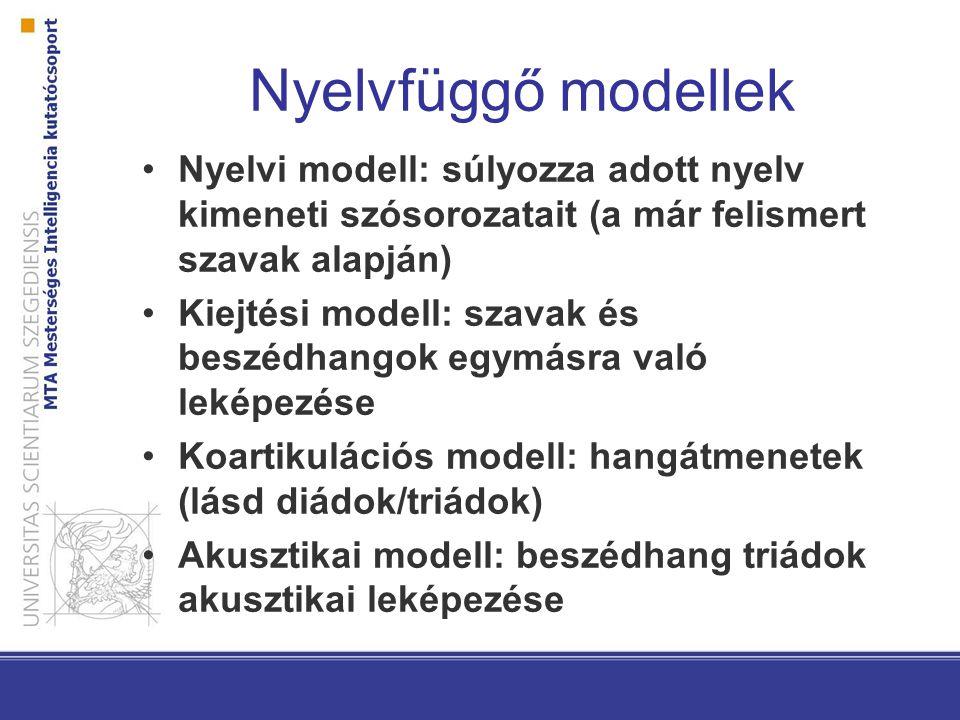 Nyelvfüggő modellek Nyelvi modell: súlyozza adott nyelv kimeneti szósorozatait (a már felismert szavak alapján)