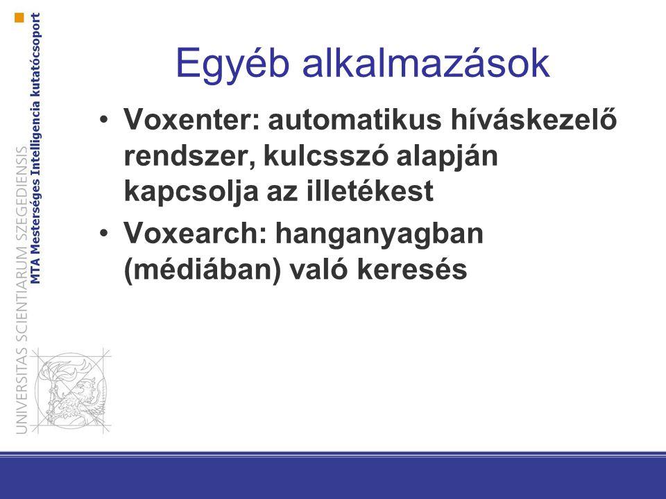 Egyéb alkalmazások Voxenter: automatikus híváskezelő rendszer, kulcsszó alapján kapcsolja az illetékest.