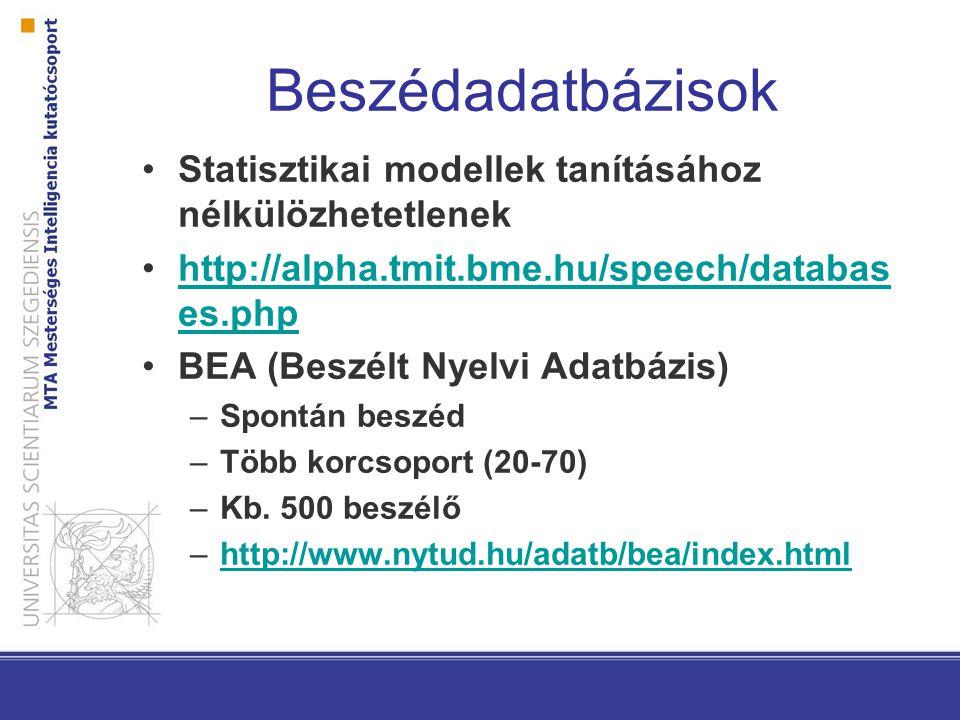 Beszédadatbázisok Statisztikai modellek tanításához nélkülözhetetlenek