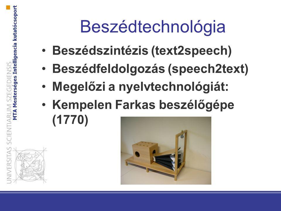 Beszédtechnológia Beszédszintézis (text2speech)