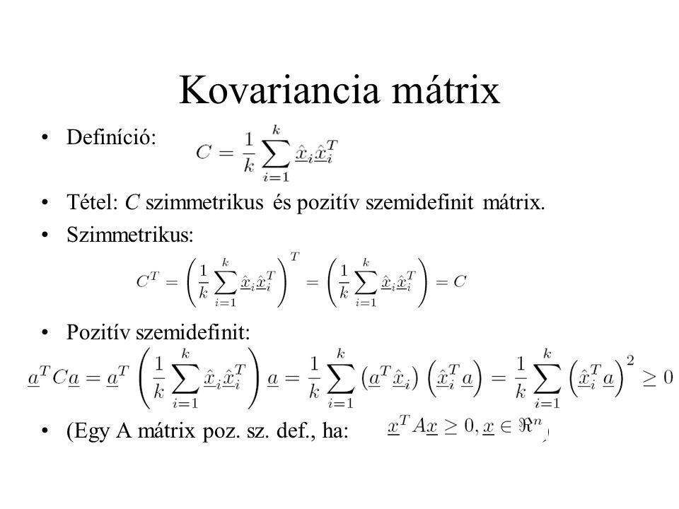 Kovariancia mátrix Definíció: