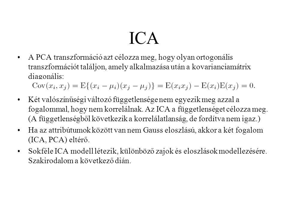ICA A PCA transzformáció azt célozza meg, hogy olyan ortogonális transzformációt találjon, amely alkalmazása után a kovarianciamátrix diagonális: