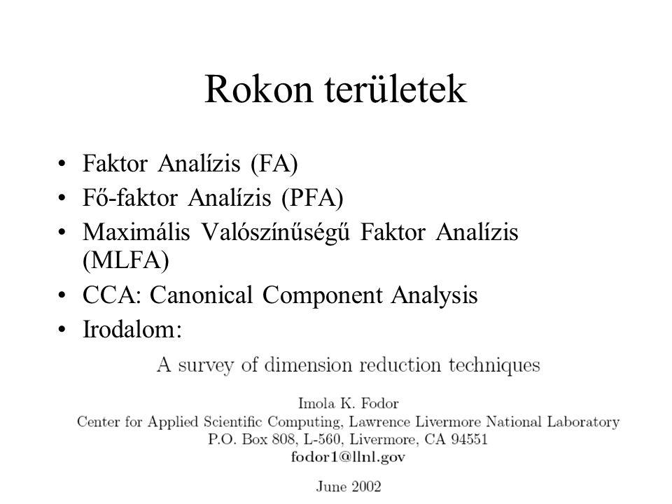 Rokon területek Faktor Analízis (FA) Fő-faktor Analízis (PFA)