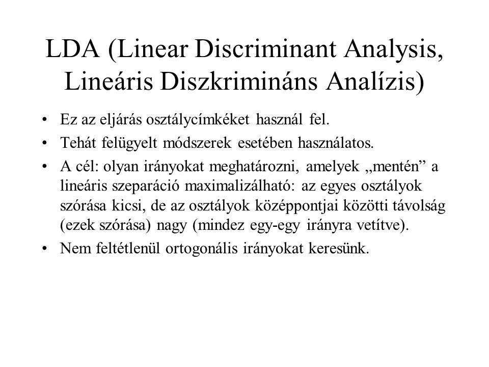 LDA (Linear Discriminant Analysis, Lineáris Diszkrimináns Analízis)