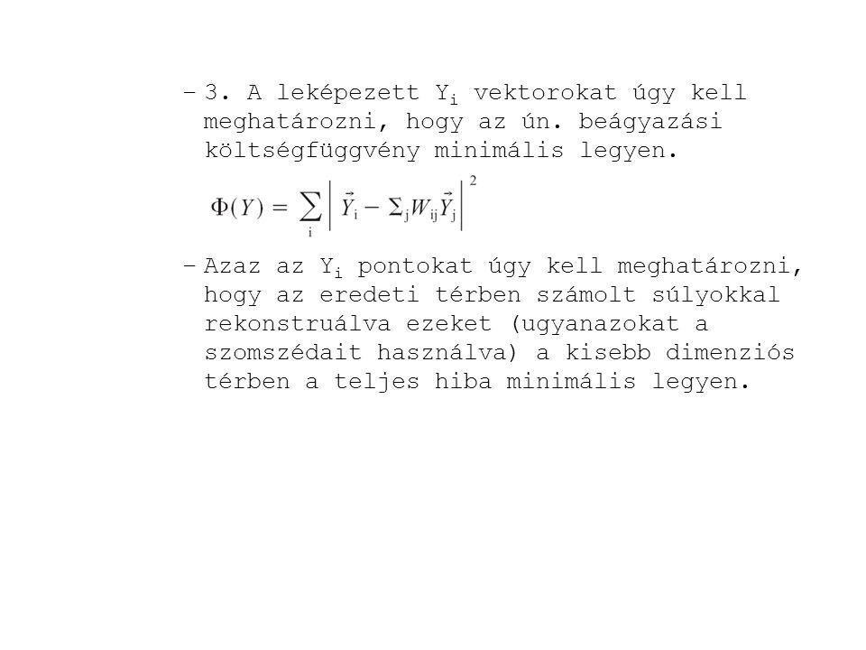 3. A leképezett Yi vektorokat úgy kell meghatározni, hogy az ún