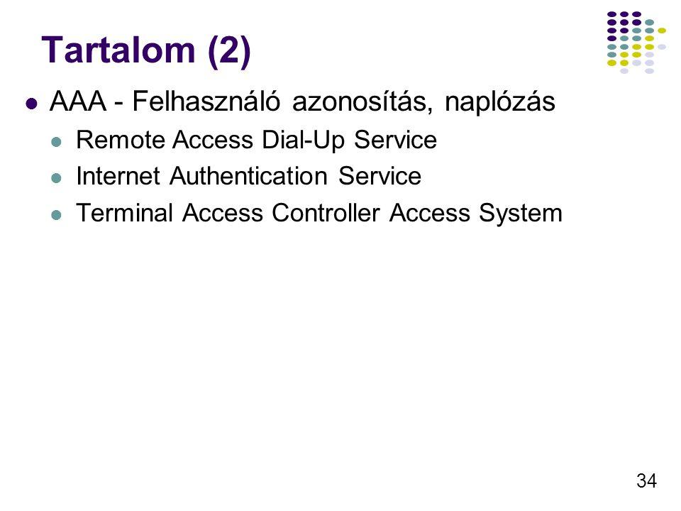 Tartalom (2) AAA - Felhasználó azonosítás, naplózás