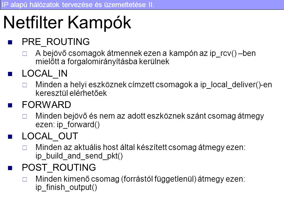 Netfilter Kampók PRE_ROUTING LOCAL_IN FORWARD LOCAL_OUT POST_ROUTING