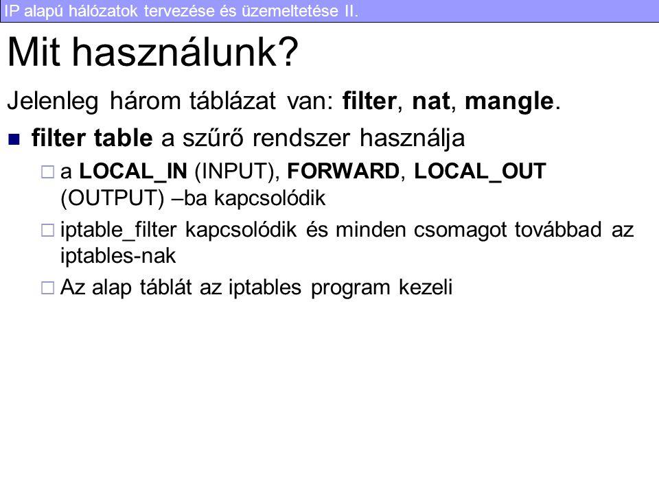 Mit használunk Jelenleg három táblázat van: filter, nat, mangle.