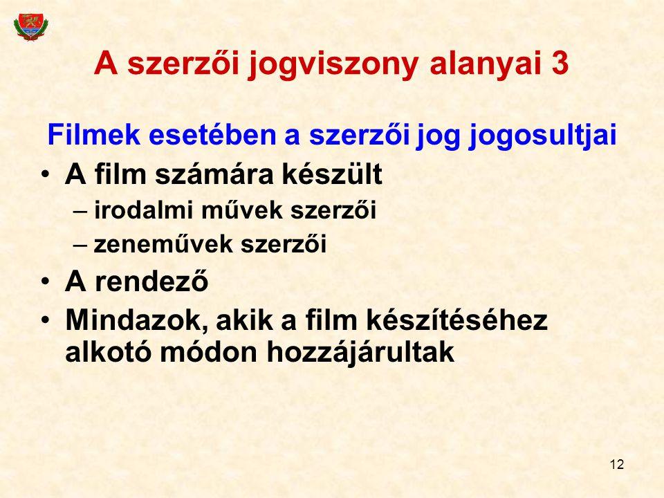 A szerzői jogviszony alanyai 3