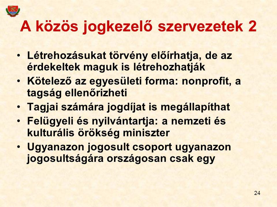 A közös jogkezelő szervezetek 2