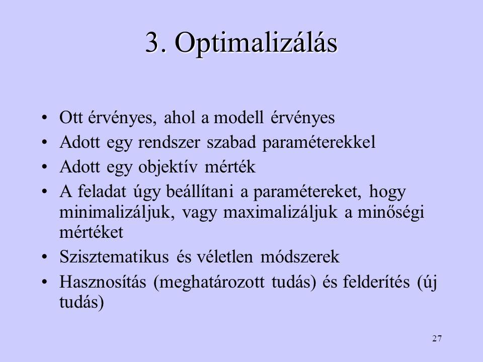 3. Optimalizálás Ott érvényes, ahol a modell érvényes