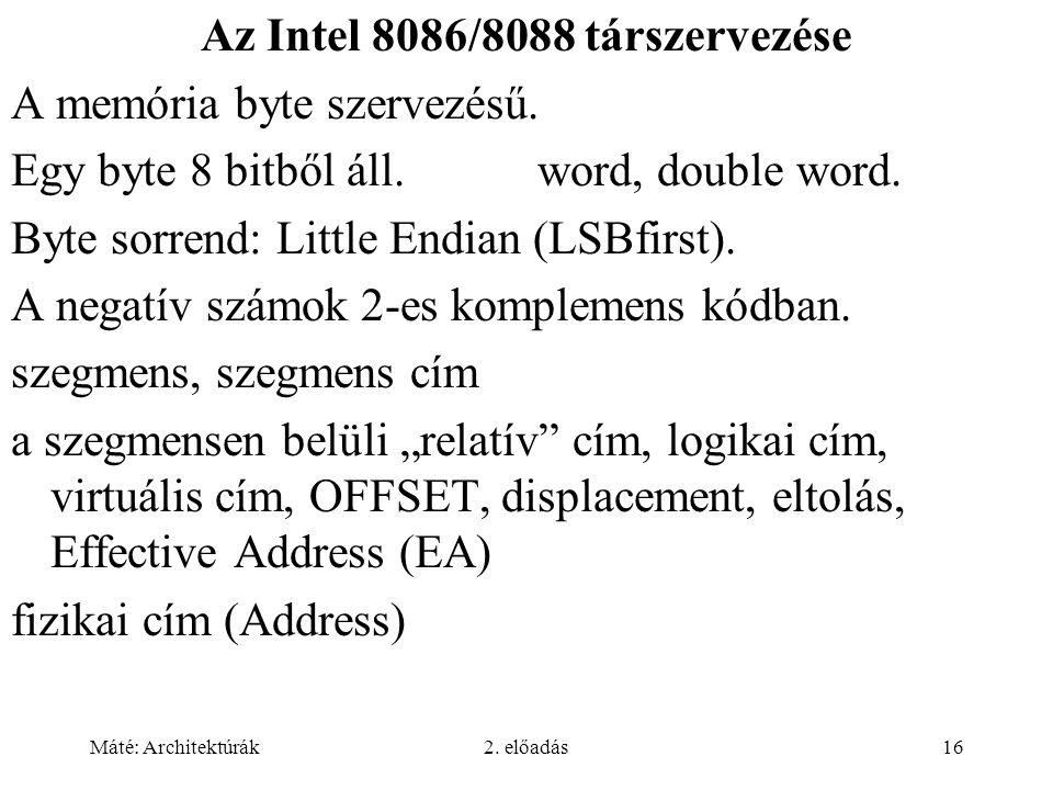 Az Intel 8086/8088 társzervezése