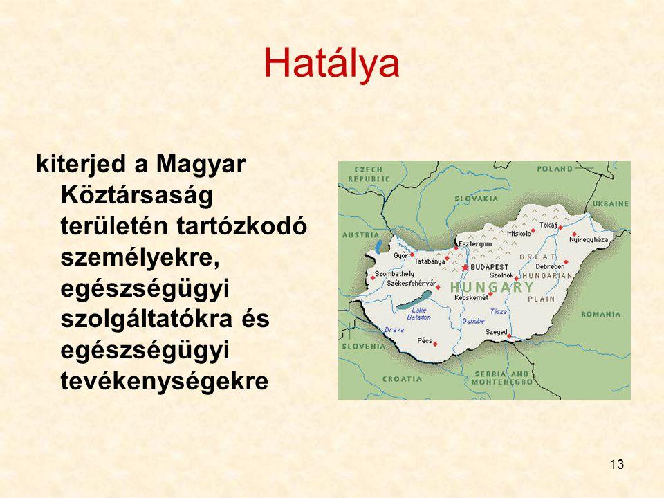 Hatálya kiterjed a Magyar Köztársaság területén tartózkodó személyekre, egészségügyi szolgáltatókra és egészségügyi tevékenységekre.