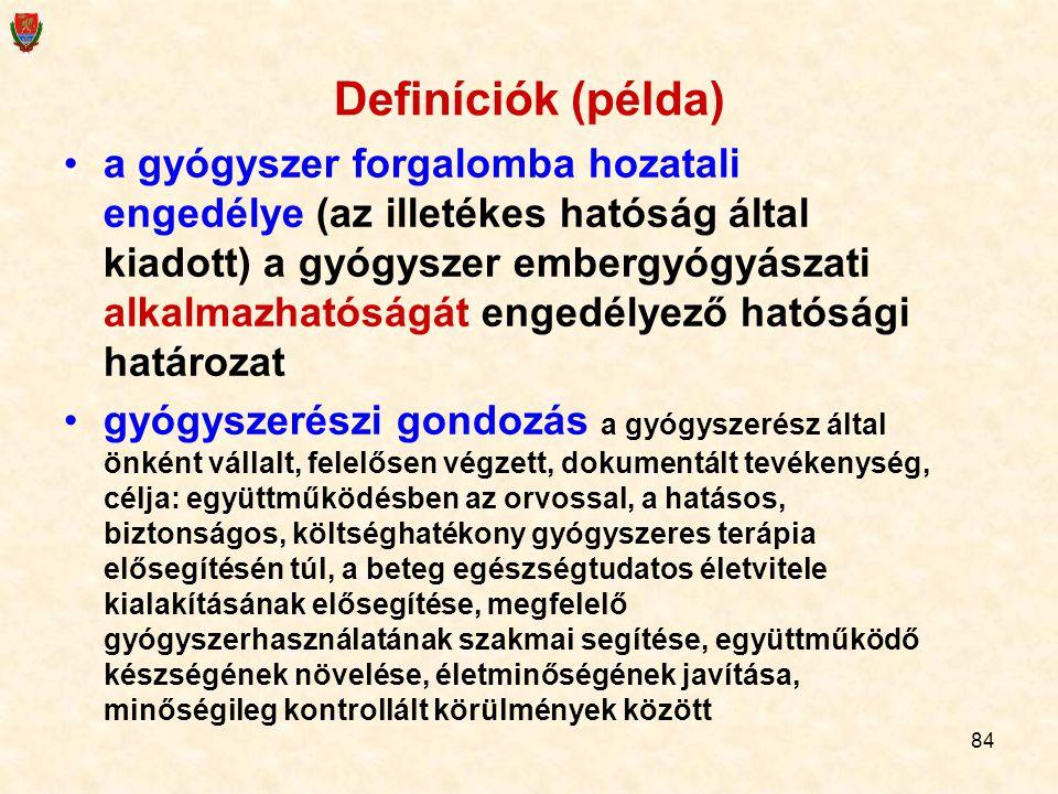 Definíciók (példa)