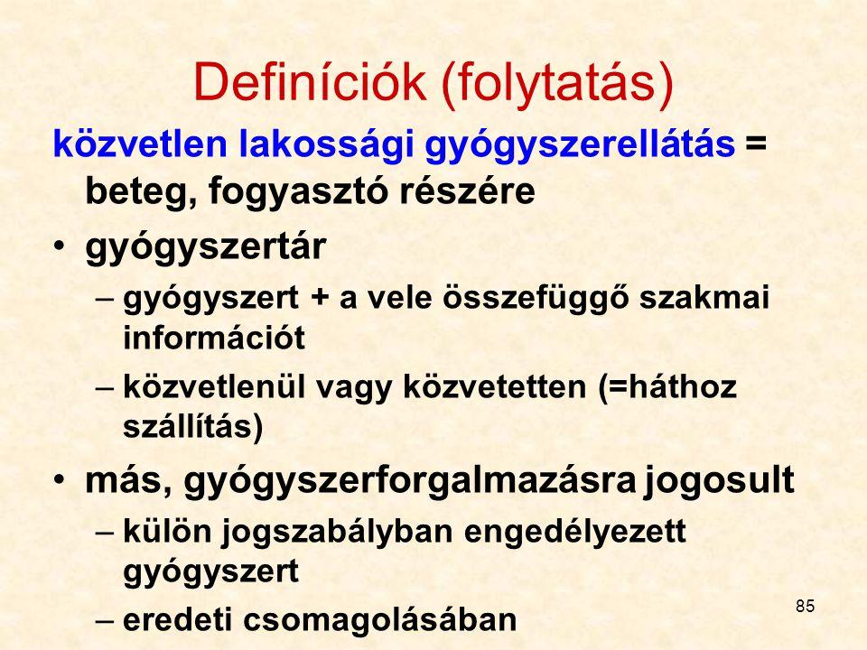 Definíciók (folytatás)