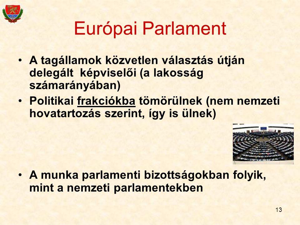 Európai Parlament A tagállamok közvetlen választás útján delegált képviselői (a lakosság számarányában)