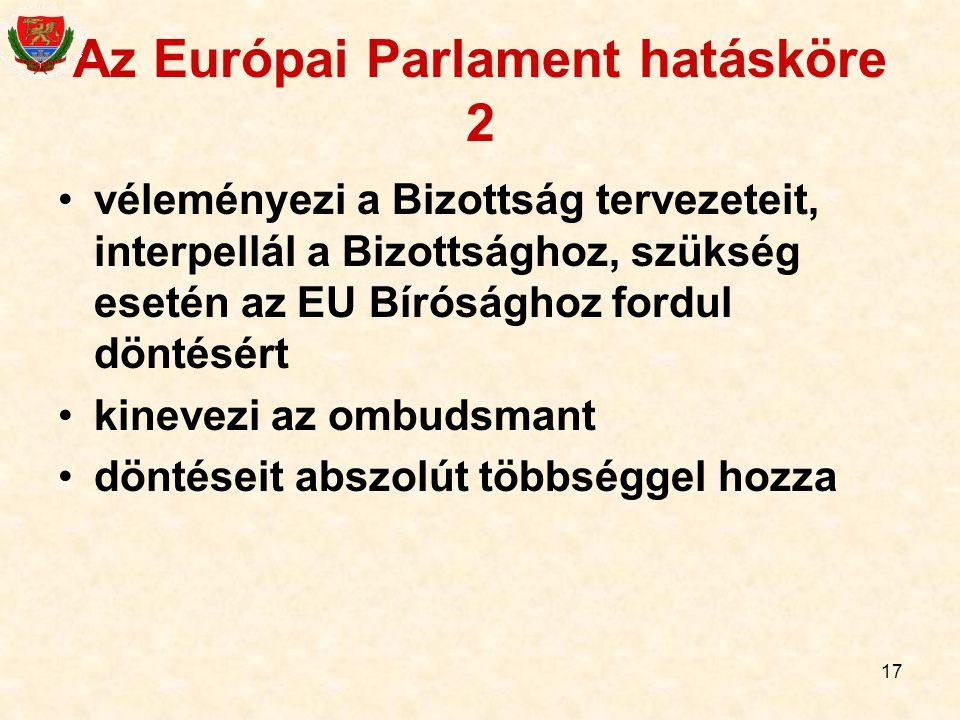 Az Európai Parlament hatásköre 2