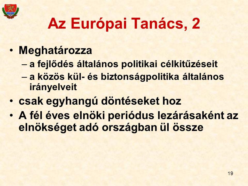 Az Európai Tanács, 2 Meghatározza csak egyhangú döntéseket hoz
