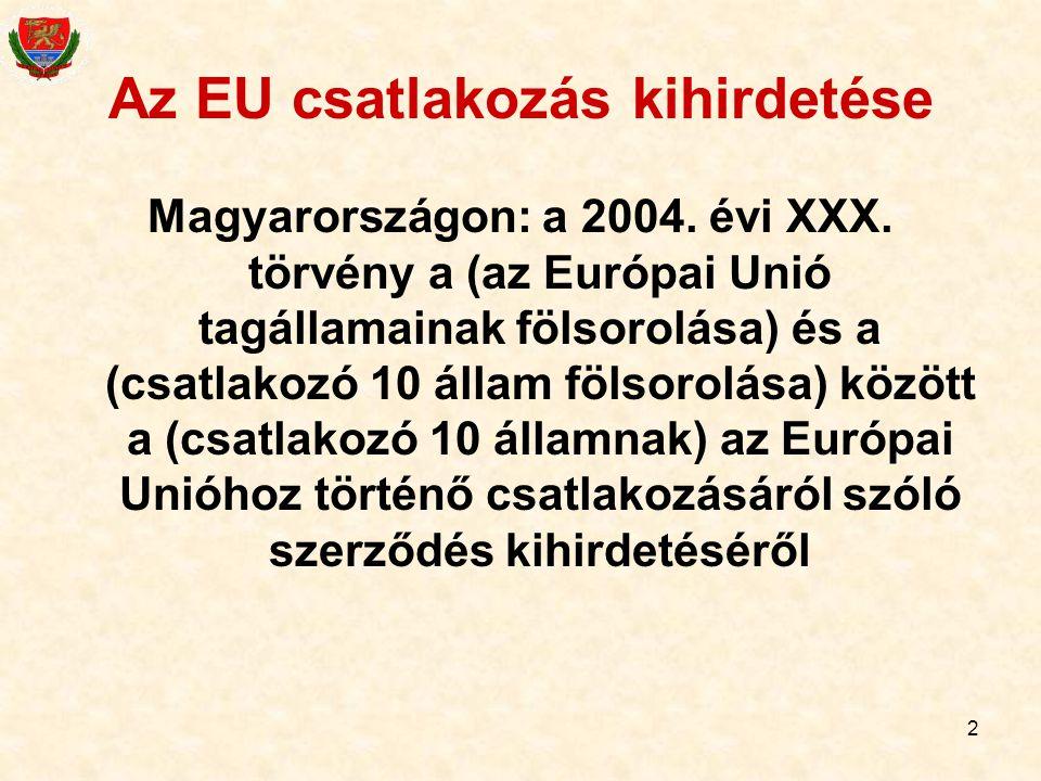 Az EU csatlakozás kihirdetése