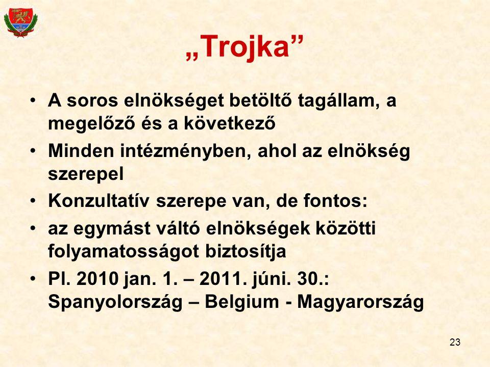 """""""Trojka A soros elnökséget betöltő tagállam, a megelőző és a következő. Minden intézményben, ahol az elnökség szerepel."""